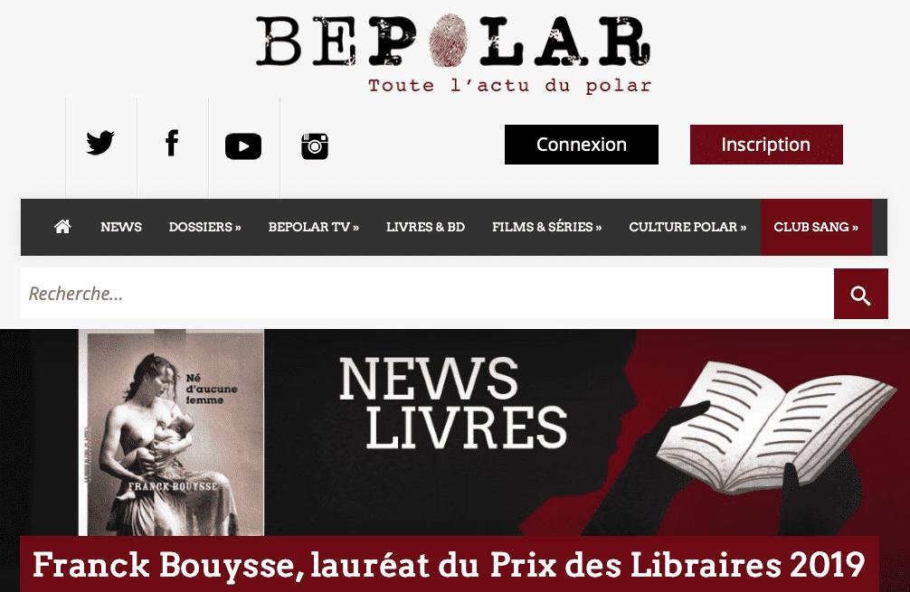 Annonce sur le site Bepolar, actualité du polar