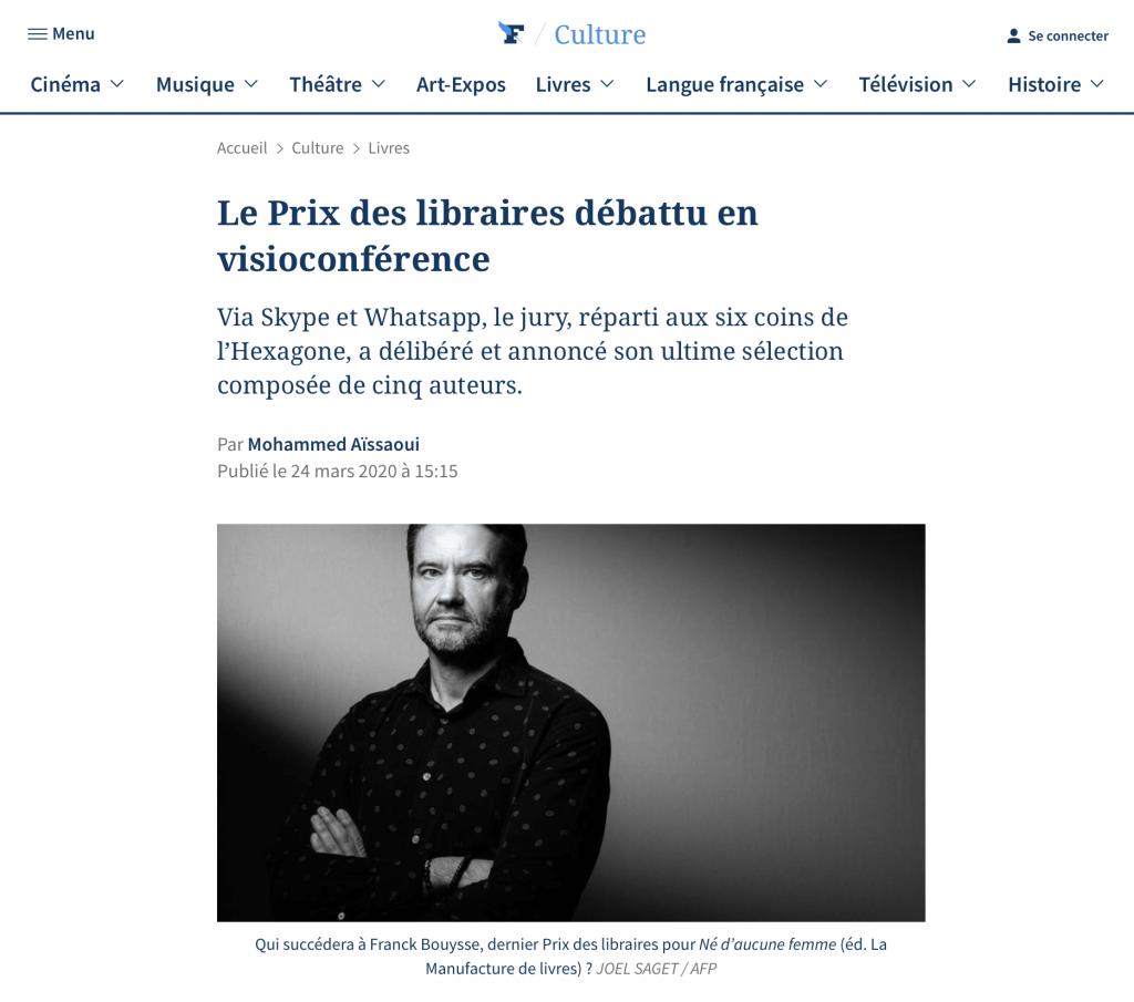 Article du Figaro Culture: le Prix des libraires débattu en visioconférence