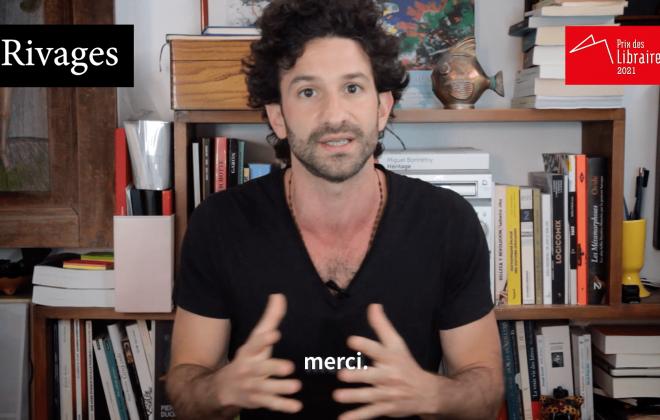 Miguel Bonnefoy, auteur du livre Héritages, remercie dans une vidéo l'attribution du Prix des libraires à son ouvrage